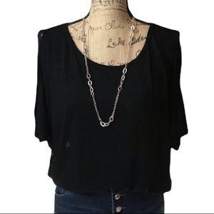 Velvet black cold shoulder short sleeved sweater